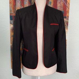 Vintage Jordache Black Red Piping Open Crop Blazer